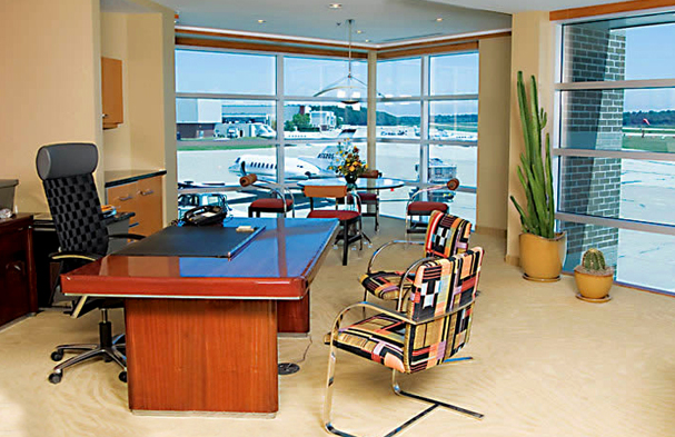 This is an executive office overlooking the runway; a great way for the CEO to view the action from above.