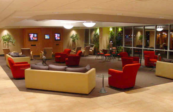This is the lobby at Corporate Wings in South Bend. Our goal was to make it comfortable and engage a lot of color.