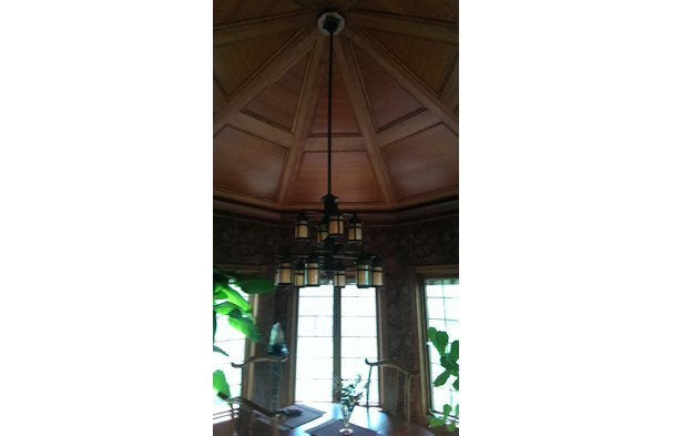 Gazebo wood paneled teak fast nook in Northern Ohio.